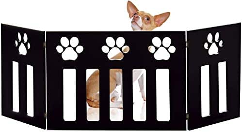 Bundaloo Freestanding Folding Gate | Expandable Wooden Fence for a Small to Medium Pet Dog | Limits Pup's Access to Stairs, Doorways, Hallways (Black, Paw Print)