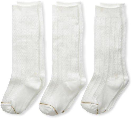 Gold Toe Big Girls'  3 Pack Knee High Sock, White, Small (Knee Socks Girls)