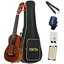 UBETA US-K-062 Acacia Koa Soprano Ukulele with Italy Aquila strings (6 in 1)Kit: Gig bag, clip-on tuner, Aquila strings,picks and straps