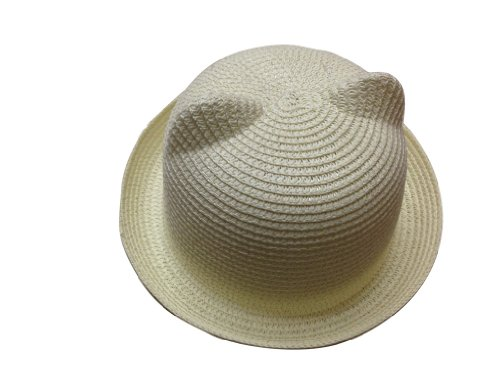 JTC Women's Cat Ear Derby Bowler Straw Hat Sun Summer Beach Cap White