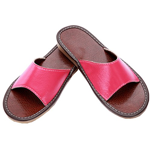 Home Unisex Toe Leather POCARTZ Slippers Indoor Open Sandals Flat Genuine House Rose 0dwXB6q