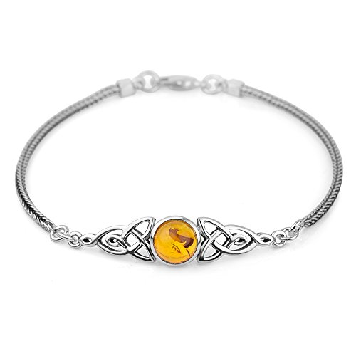 Chuvora Sterling Silver Genuine Amber Stone Celtic Trinity Knot Triquetra Triskelion Trikele Bracelet 8