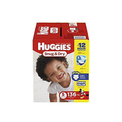 HUGGIES Snug & Dry Diapers, Size 5, Over 27 lbs., Pack of 136 Count Baby Diapers, Packaging May Vary