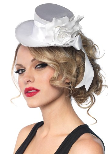Leg Avenue Satin Top Hat With Flower And Bow Accent, White, One Size ()