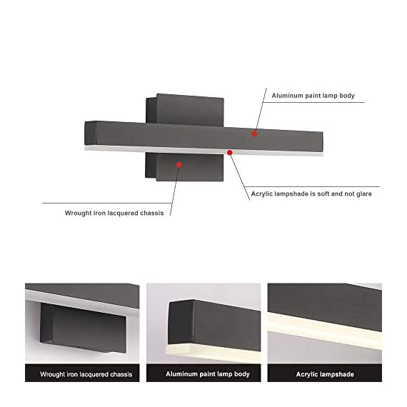 """Joossnwell LED Bathroom Vanity Lighting Fixture Morden Bath Light Bar 15.75inch Black Wall Sconce 9W 4000K - * [NEW DESIGN] Modern bathroom led vanity light fixture, perfect auxiliary lighting for bathroom and bedroom. * [SPECIFICATIONS] Length :15.57"""" for 9W, distance from the wall:3.54"""". Color temperature:4000K, Non-dimmable. * [ADVANTAGE] No dazzling , no glare,easy to install. No Switch or Cord on the light fixture, just connect to the reserved wire directly, square base 4.72"""" suitable for US Junction box standard. - bathroom-lights, bathroom-fixtures-hardware, bathroom - 41Cxk94HXhL. SS570  -"""