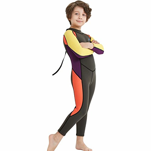 Suit Paddling (DIVE & SAIL Kids 2.5mm Neoprene Wetsuit UPF 50+ Quick Dry Swimming Costume Thermal Insulation Rash Guard Lightweight Spring Suit for Swimming Boating Paddling Black L)