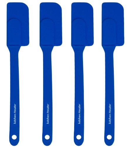 Silicone Slim Spatulas - 8½ X 1 Inch with Sturdy Plastic Handle. Set of 4. Blue