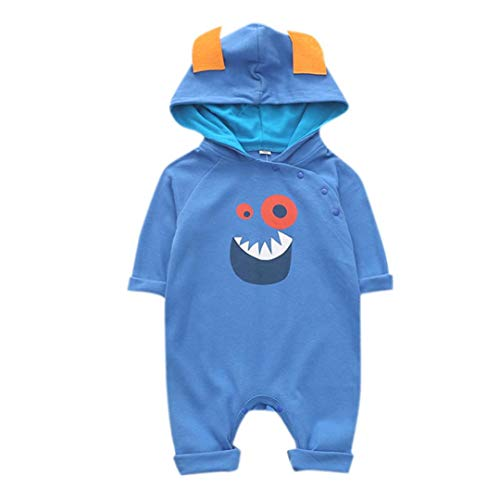 Newborn Autumn Dinosaur Shark Jumpsuit,Jchen(TM) Infant Toddler Baby Boys Girls Long Sleeve Hoodie Dinosaur Shark Romper Jumpsuit for 0-24 Months (Age: 0-12 Months, Blue) by Jchen Baby Sets
