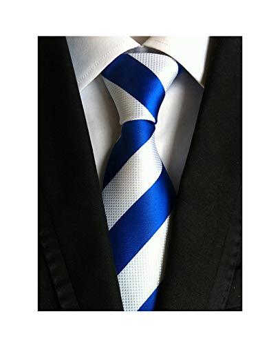 Men Boys White Blue Stripe Silk Ties College School Handmade Daily Dress Necktie