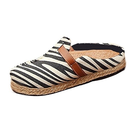 Womens Loafers Flat Backless Moccasin Slip-on Buckle Classic Linen Zebra Casual Shoe Black White Black-white