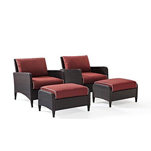 Crosley KO70033BR Kiawah 4-Piece Wicker Seating Set