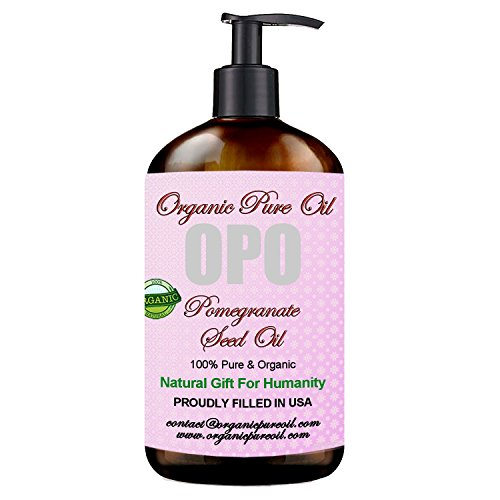Pomegranate Seed Oil - 100% Pure & Organic, Unrefined, Extra Virgin, Cold pressed Premium Pharmaceutical Grade Rich with Antioxidants 8 OZ for Skin Face Hair Nails Cuticles By Organic Pure -