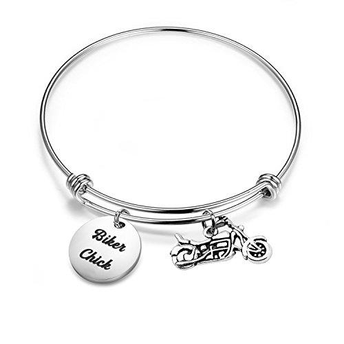 SEIRAA Biker Gift Motocycle Bracelet Biker Chick Gift Harley Girl Expandable Bracelet Harley Jewelry (Biker ()