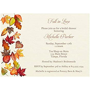FREE SHIPPING! Fall in Love Autumn Bridal Shower Invitations
