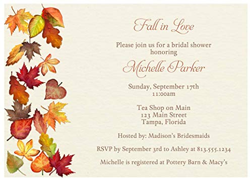 - Fall Bridal Shower Invitations Autumn Wedding Invites Leaves Brown Gold Yellow Red Falling for Autumn Personalized Cards (10 Count)