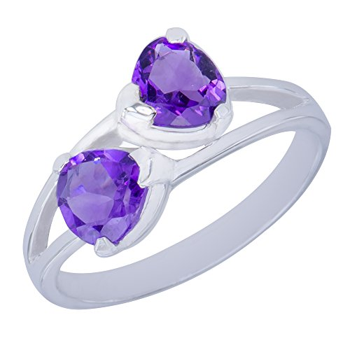 - Gorgeous Genuine Bow Natural Amethyst Gemstone Sterling Silver Trilliant Shapes Jewelry Womens Ring