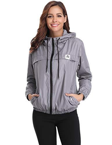 Aibrou Women Waterproof Lightweight Rain Jacket Active Outdoor Hooded Raincoat Gray