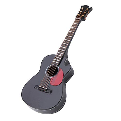 Miniature Cutaway Guitar Replica Collectible Figurine with Stand Support and Case Instrument Model Ornaments for Home…