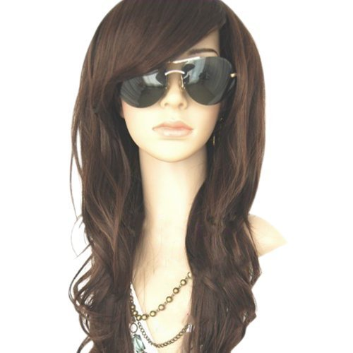 MelodySusie High Quality New Womens Dark Brown Long Full Curly Wavy Glamour Hair Wig Fashion  MelodySusie Wig Cap  MelodySusie Wig Comb