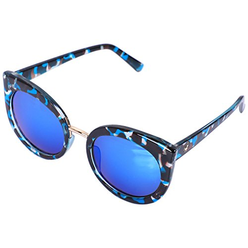 sol SODIAL de de espejo gato ojo Gafas Lente sol UV400 gafas verano mujer Negro de azul de Marmoleado clasicas Gafas de rosado moda marco S17023 de sombras qrq5xY