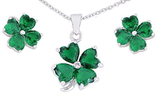 - Irish Designed Croí Clover Necklace & Earrings Set With Swarovski Crystal Stones