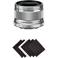 Olympus 25mm f1.8 Interchangeable Lens (Silver) w/ AmazonBasics Microfiber Cloths