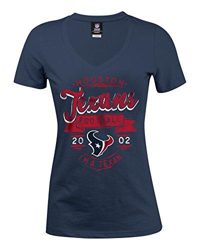 A-Team Apparel NFL Houston Texans Women's Baby Jersey Short Sleeve V-Neck Tee, X-Large, Navy