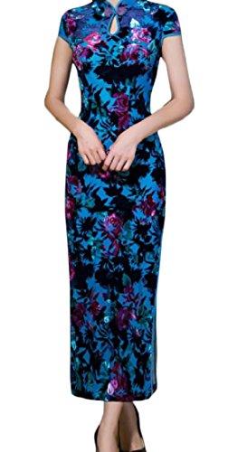 Blue Stand Cheongsam Short Sleeve High Coolred Style Women Chinese Side Slit Collar qWPRfS