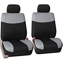 FH Group FH-FB056102 Modern Flat Cloth Bucket Car Seat Covers Gray/Black Color - Fit Most Car, Truck, Suv, or Van