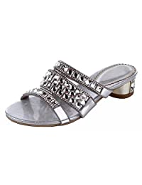 Honeystore Women's Square Crystal with Rhinestones Hanmade Sandals