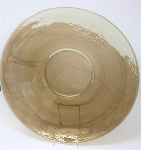 Alabaster Bowl Swirl (My Swanky Home Large Amber Gold White Art Glass Serving Bowl |18