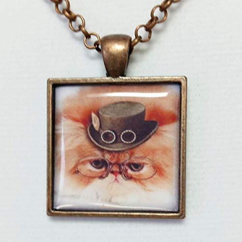 (Steampunk Pendant Necklace Orange Fluffy Cat Adjustable Necklace 16 to 20)