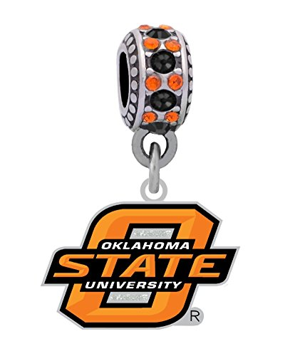 Oklahoma State University Logo Charm Fits European Style Large Hole Bead Bracelets by Final Touch Gifts