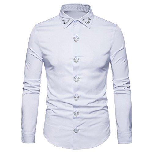 Tops Blouse Slim Automne Longues Suit Hiver Mariage overdose Blanc Soirée Costume Habillée Chemise Homme Fit Manches Boutonnée pYSPnvg