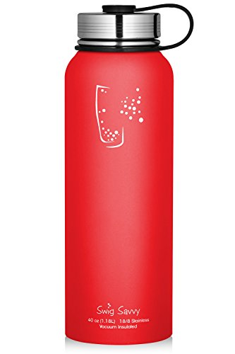 Swig Savvy Water Bottles Stainless Steel - Vacuum Insulated Water Bottle + Stainless Steel Leak & Sweat proof Cap Double Wall Thermos Flask For Hot or cold Beverages (Red, 18oz)