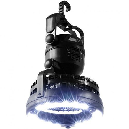AGPTEK 2 IN 1 18 LED Portable Camping Lantern Ceiling Fan Outdoor Hiking Fishing Outages Emergencies Tent