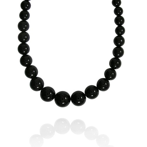 6-16mm Round Black Onyx Graduated Bead Necklace, 18+2
