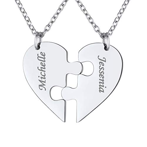 FindChic Personalized Matching BFF Necklace for 2/3/4/5/6 Puzzle Name Heart Pendant Stainless Steel Couple Necklace Set Customized Necklaces for Teen Girls