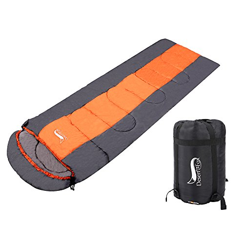 All Season Warm Weather Sleeping Bag -Outdoor Camping, Backpacking & Hiking - Fit for Kids, Teens and Adults - Lightweight, Waterproof & Compact (SINGLE)-orange