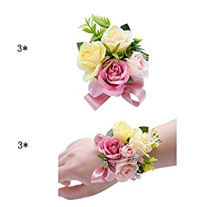 ChicChic Men Wedding Buttonholes Boutonnieres with Pin & Bride Bridesmaids Wrist Corsage Silk Rose Flower for Grooms Groomsmen Party Prom Man Suit Decoration(Pack of 6) 24