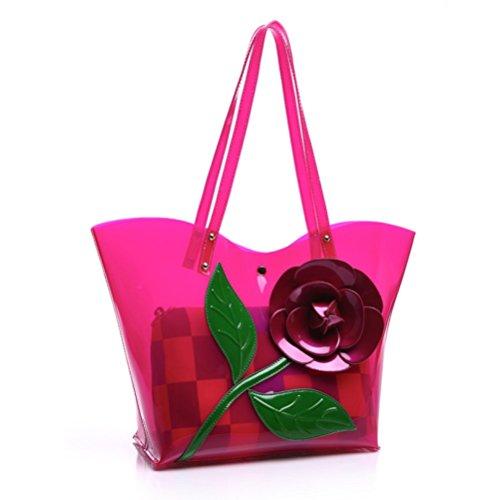 WenL Bolso De Hombro del Cascanueces del Nuevo Bolso De La Jalea De La Moda Transparente,Pink Magenta