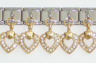 TUCCI CHARMS Dangle Crystal Open Heart Italian Charm