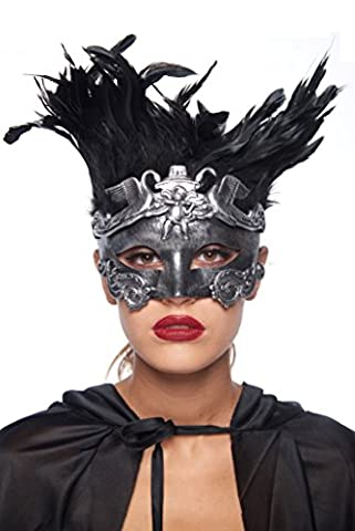 Cherub and Swan Plumed Gladiator Masquerade Mask (Unisex; One Size Fits Most; Silver) (Cherub Mask)
