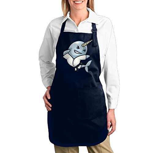 Dogquxio Cute Narwhal Kitchen Helper Professional Bib Apron With 2 Pockets For Women Men Adults Navy