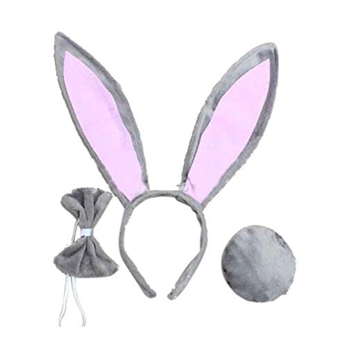 OPYUT Cute Rabbit Ears Tail and Bow Tie Suit-Gray -