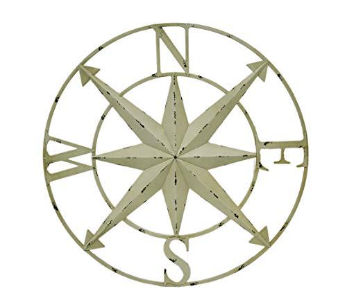 Zeckos Metal Wall Sculptures Distressed Metal Indoor/Outdoor Compass Rose Wall Sculpture 28 Inch 28 X 28 X 1 Inches Ivory