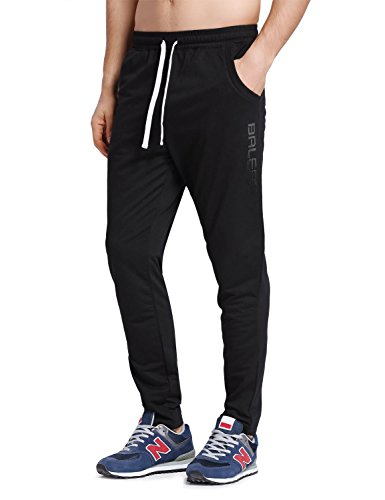 Baleaf Men's Athletic Running Pants Jogging Track Sweatpants Tapered Leg Black Size L (Track Pants Black)
