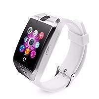 Bluetooth Reloj Inteligente con Cámara, Ezone Reloj Inteligente para Android Teléfonos Inteligentes, Q18 Smart Watch - Blanco