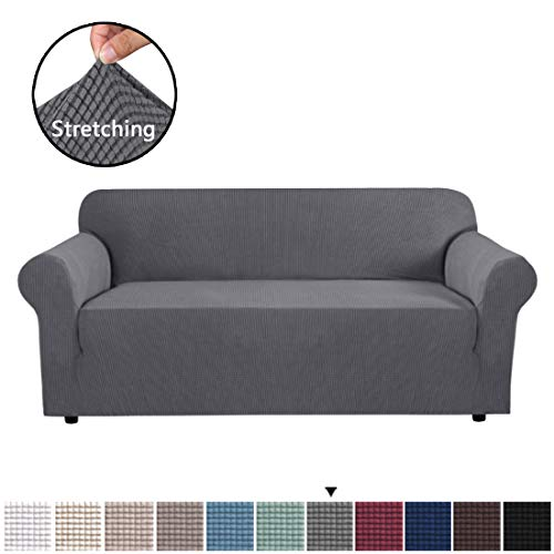 H.VERSAILTEX High Stretch Sofa Cover 1 Piece Couch Covers, Lounge Covers for 3 Cushion Couch, Sofa Slipcover for Living Room, Sofa Cover Stretch, Lycra Jacquard Sofa Slipcover 3 Cushion (Large: Gray) (Sale Sofa Large For Cushions)