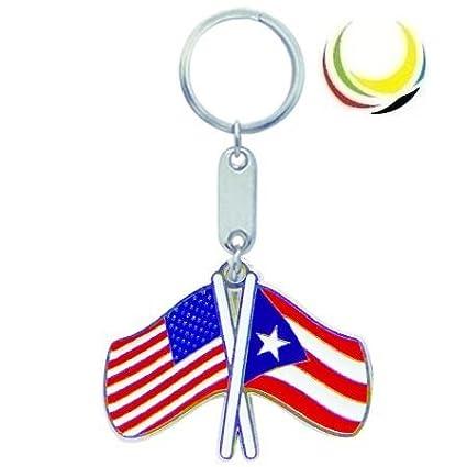 Keychain USA-PUERTO RICO FLAGS